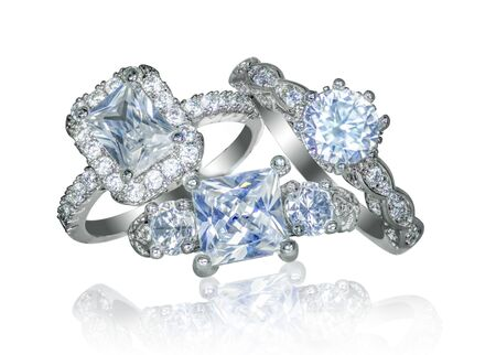 Group of Diamond wedding engagement RIngs Фото со стока