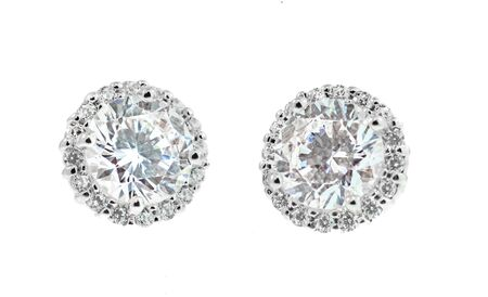 Diamond Halo Earrings fine jewelry isolated on a white background