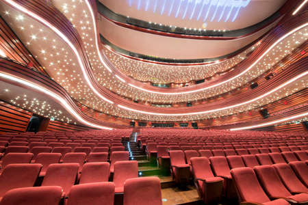 lecture theatre: Inside of the Shengjing Theater of Opera and Ballet with empty seats in China