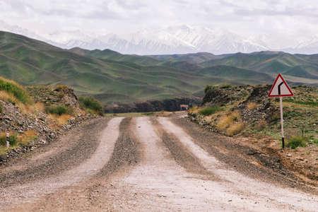 Gravel road in the Ile-Alatau mountains