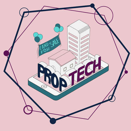 Prop tech from property technology is technology about house land condo apartment Ilustração