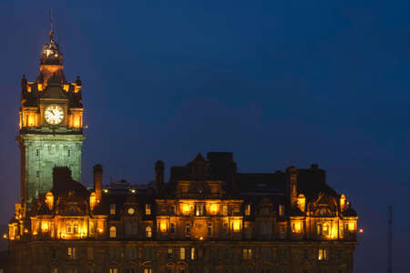 princes street: Edinburgh balmoral hotel night view Stock Photo