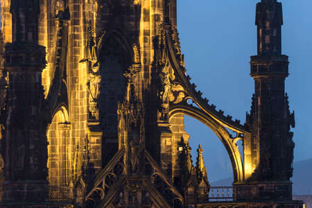 Edinburgh scott monument night view 版權商用圖片