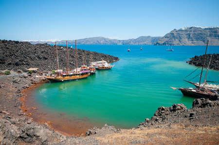 Nea Kameni volcano caldera Stock Photo