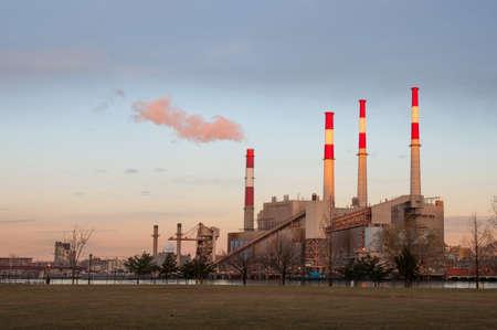 tall chimney: Roosevelt Island Power Plant at sunset