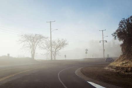 Driving down foggy highway in Malibu Creek State Park