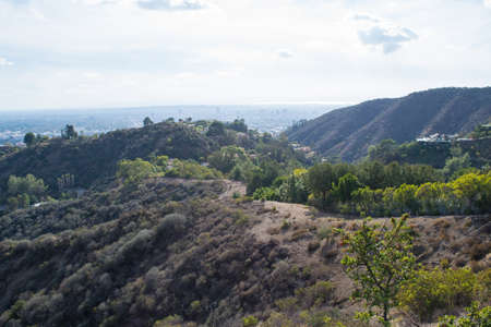 despite: Rainy cloudy Los Angeles despite california drought Stock Photo