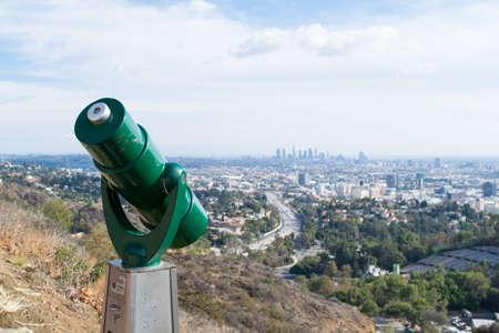 LA skyline sightseeing in Mulholland Stock Photo