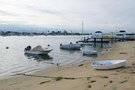 Boats at Newport harbor beach