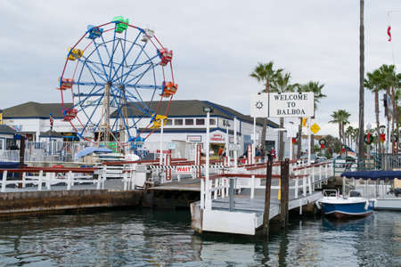 Balboa Island pier near Newport harbor beach in california Editorial