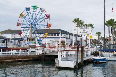 balboa: Balboa Island pier near Newport harbor beach in california Editorial