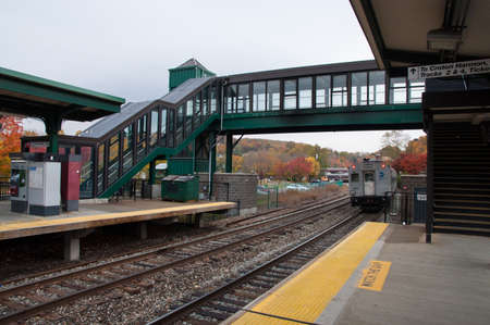 Metro North rail station in Peekskill New York in fallautumn
