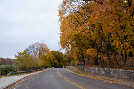 Neighborhood street with fall foliage in upstate new york small town Stock Photo