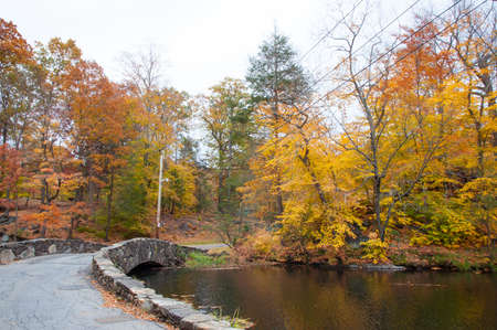 path next to lake in fall foliage in westchester new york Stock Photo