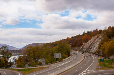 Overlook of highway in upstate new york town near hudson river