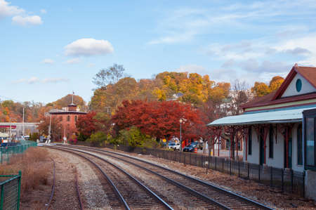 Peekskill train station in autumn fall foliage Stock Photo