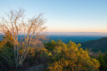 wnc: Hawskbill Mountain top on Blue Ridge Parkway at sunset