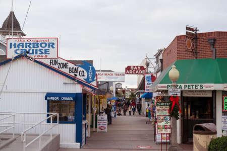 Shops along boardwalk near Newport Beach at Balboa Island