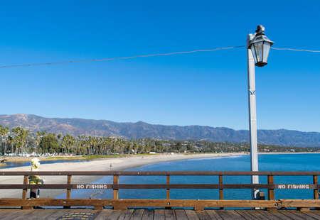 barbara: Boardwalk on Santa Barbara beach Stock Photo