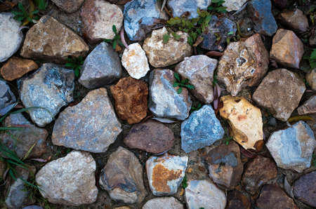 inorganic: Various pebble stones for background in top view