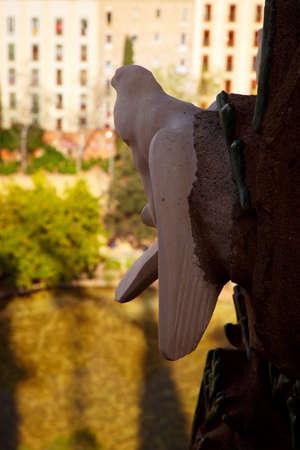 BARCELONA, circa 2015 - A dove sculpture seen from La Sagrada Familia cathedral, Barcelona, Catalonia, Spain