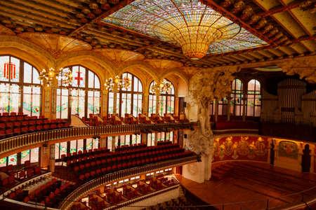 BARCELONA, circa 2015 - The interior of the Palau de la Musica Catalana in Barcelona, Catalonia, Spain