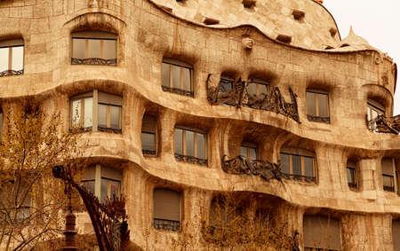 BARCELONA, circa 2015 - Closeup shot of Casa Mila - La Pedrera or Miracle Home - in Barcelona, Catalonia, Spain