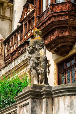 SINAIA, circa 2016 - Closeup shot of a statue in the Peles Castle, Sinaia, Transylvania, Romania Editöryel