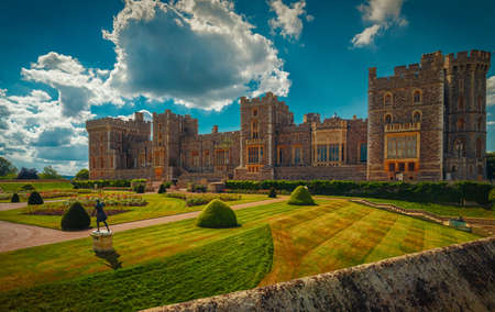 WINDSOR, September 2016 - An ultra wide view of the medieval Windsor Castle and gardens bathed in glorious sunny weather