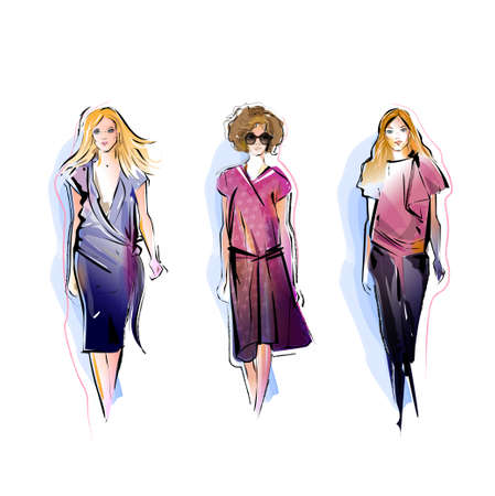 royalty free: Three Fashion Models Stock Photo