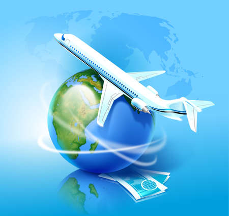 Airplane, Globe and Pair of Air Tickets Stock Photo - 6469667
