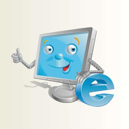 peripherals: Smiling Computer Illustration Stock Photo