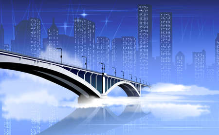 Bridge Illustration With The City Background Stock Illustration - 6510472