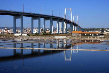 Figueira da foz bridge and sea farms.