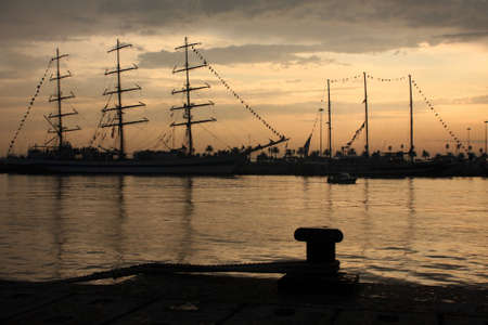 Sailship on the port Stock Photo