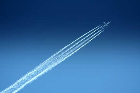 Aeroplain under a blue sky  Stock Photo