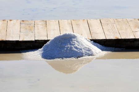 salt mine: A pile of salt in a salt mine.