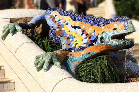 A detail of Gaudi Park Guell in Barcelona photo