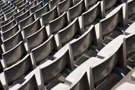A detail of a bench on a olympic stadium