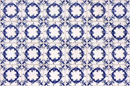 Old tiled background, portuguese azulejos Stock Photo