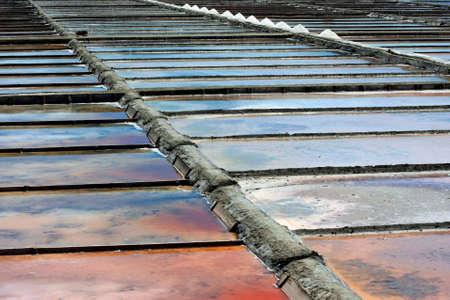 A detail of a salt farm in Aveiro Stock Photo