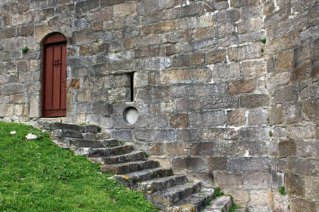 A detail of a medieval castle door Stock Photo