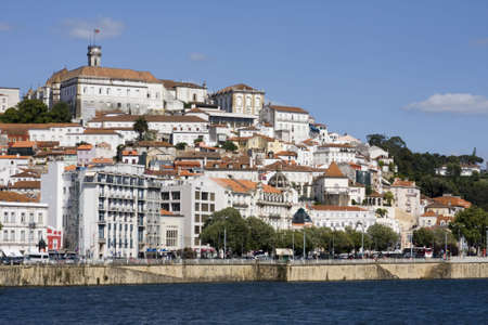 The city of Coimbra with its University on the top. Stock Photo