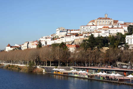 The city of Coimbra with it's University on the top. Stock Photo