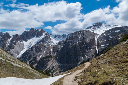 hiking path: hiking path in the dolomites alps near San Vigilio