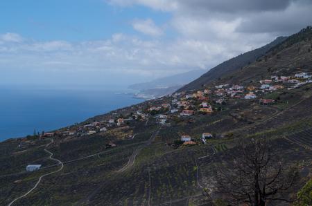 scoria: View off the edge of Teneguia Volcano in northern direction towards Las Indias, La Palma, Canary Islands, Spain