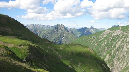 allgau: Mountain landscape in the Allgau Alps with beautiful Hoefats mountain near Oberstdorf, Germany