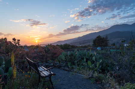 Bench in a garden with a beautiful sunset on La Palma, Canary Islands, Spain Stock Photo