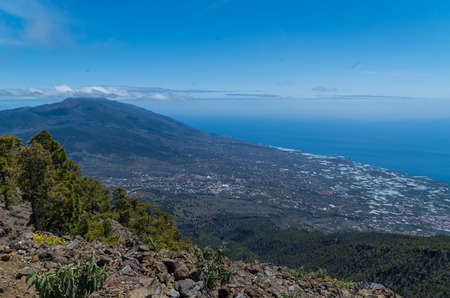 Beautiful view over the western side of La Palma with Los Llanos at the coast, Spain