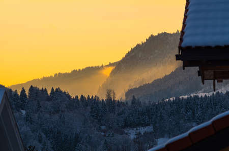 allgau: Beautiful winter sunset in the mountains near Oberstdorf, Allgau, Germany